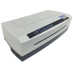 White Braille printer with slots on top and bottom for paper feeding, and controls on right side.