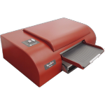 Red Braille printer with paper feeder tray on bottom.
