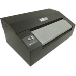 Black Braille printer with paper feeder slots on top and side. Controls on left side of paper feeder.