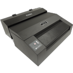 Black Braille printer with paper feeder slots on top and side, controls on left of paper feeder.