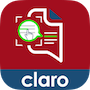 """Claro ScanPen App Logo. It features a graphics-style logo with a red and blue background. The logo itself is an illustrated of a page with printed text, and a green magnifying tool """"zooming in"""" on a section. Within the green magnification circle, a hand-style mouse icon is pointing to a line of text, which is highlighted in green. Beneath the logo, the word """"claro"""" is printed in white, sans-serif font."""