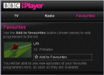 BBC Player Favorites tab