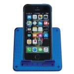 Unlocked iPhone resting upright on blue docking station.