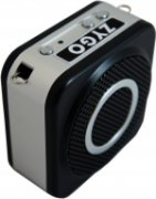Speaker with gray circle and controls along top edge.