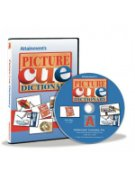Picture Cue software package with CD. The cover features various images of picture cue cards (objects on white-background cards) included within the program. The cover has a blue background.