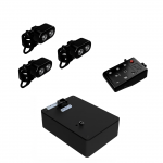 Small rectangular black power source with remote and controls along top adjacent to three Echo Heads with LED lights.