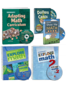 The full collection of workbooks and CDs included in the set Enhance: Math Skills.