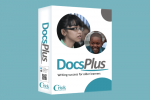Angled view of DocsPlus software box showing cover that features pictures of two child faces.