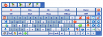 on screen keyboard with word prediction options and menu buttons
