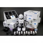 Robot with product boxes and additional sensors and chargers.