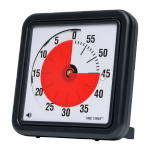 Medium-sized, black, and square timer with red disk that disappears as the time runs down.