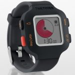 Timer Watch with black wristband and larger watch face. Black and red control buttons along the left side and black timer buttons along right side.