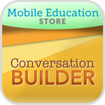 ConversationBuilder app icon, with company name listed in a lime green band at the top, and the app's name written at the bottom against an orange background.