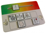 Tiles representing feelings to be input on a scale ranging from green to red on rectangular, wooden board.