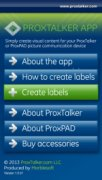 ProxTalker App menu options, including about the app, how to create labels, create labels, about ProxTalker, about ProxPAD, and buy accessories.