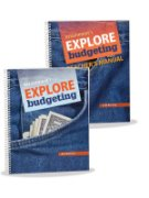 Two workbooks, the Explore Budgeting teacher manual and the Explore Budgeting student book.