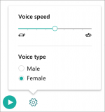 Voice Selection menu with options to select voice speed and male or female voice type.
