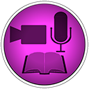 Shows the logo of Note Studio which is a circle of magenta in color with icons of a mic, a video camera and an open book.