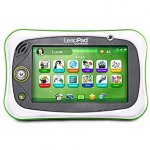LeapFrog LeapPad handheld tablet showing the main screen with a green background and colorful icon buttons.