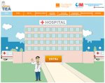 Image of homepage of website, featuring doctor standing in front of hospital waving.