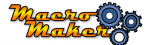 Macro Maker logo with the name on the left in yellow and orange and a series of three interlocking round gears on the right.