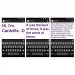Screenshots of a messaging app with the keyboard at the bottom of the screen and the typed message above. The typed messages are in large-font, purple font.