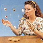 Woman sitting at a table holding transparent board with image overlays.