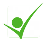 White square with a green check mark over it and a green dot inside the check mark.