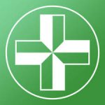 Green square with a white outlined circle of a white and green medical cross.