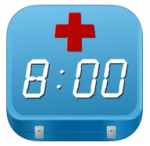 Teal-blue square  with red medical cross at the top and time display of 8:00.
