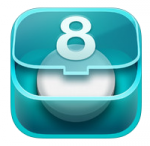 Teal colored box with a lid slightly open and a white pill inside and the number 8 on the lid.