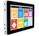 Side view of tablet-sized device with colorful grid of symbols on the display screen.