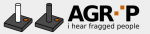 Agrip logo featuring the name in black all capital letters with two squares diagonally from each other in place of the letter i. The icon that precedes the name is two dark gray squares, each with a dowel type handle or joystick. Below the name is written: I hear fragged people, all in lower case dark gray letters.