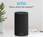 """A tall, black, and cylindrical device resembling a tower. A quote reads, """"Alexa, what's the weather?"""""""