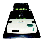 """Black platform base that says """"DigiCite"""" in light green font, with an off-white, rectangular device placed on top."""