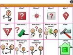 15 square grid of stick/symbol illustrated question phrases.