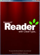 Logo of Microsoft Reader written in white color with 3 green leaves on top of the last letter R.