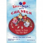 "A DVD case, featuring a blue sky background with clouds and the words ""Time to Sign with Children"" in blue and red font. Beneath, an image of four children sitting on a red, circular mat. On the mat, it says ""Learn to sign the fun way!"""