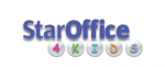 """Logo showing the text StarOffice in blue color and beneath it the """"4 KIDS"""" text inside bubbles."""