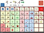 The main screen of Clicker Communicator app offering a grid of options filled with picture symbols.