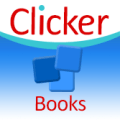 A square image with the word Clicker written across the top against a white background and three small blue squares against a blue background on the bottom half of the image.