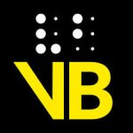 Black square with two 6-cell braille codes on top and large yellow letters VB on the bottom.