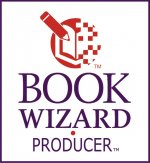 White vertical rectangle outlined in purple with the name of the product underneath an image of a pencil pointing to an open book.