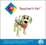 Teacher's Pet logo: A square image with white background with a cartoon image of a guide dog in the middle and a small blue diamond-shaped image in the upper left with an apple in the middle.