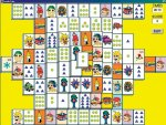 Square image with eight rows of various number of cards against a yellow background. Some of the cards have pictures and some have a number of dots or triangles.
