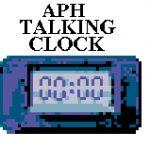 Name of product on top of pixelated image of small rectangular clock with display screen in the middle showing a digital time readout of 00:00.
