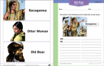 """Word Study worksheet, with directions that read, """"Use letter in the following word to make lots of new words,"""" with an illustration below labeled """"Sacagawea."""" Illustrations to the left of the worksheet include Sacagawea, Otter Woman, and Old Bear."""