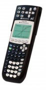 Long, black graphing calculator with various number keys and menu buttons.
