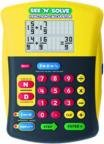 """Yellow, black, magenta, green, and blue-colored calculator, displaying fractions in """"top-down"""" format, rather than as decimals."""