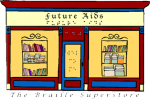 "An illustration of a shop front with a door and two display windows, each with a bookshelf. Above the door reads ""Future Aids"" in both English and Braille. There is also Braille on the door. The shop is red, yellow, and blue. Beneath the illustration reads ""The Braille Superstore."""
